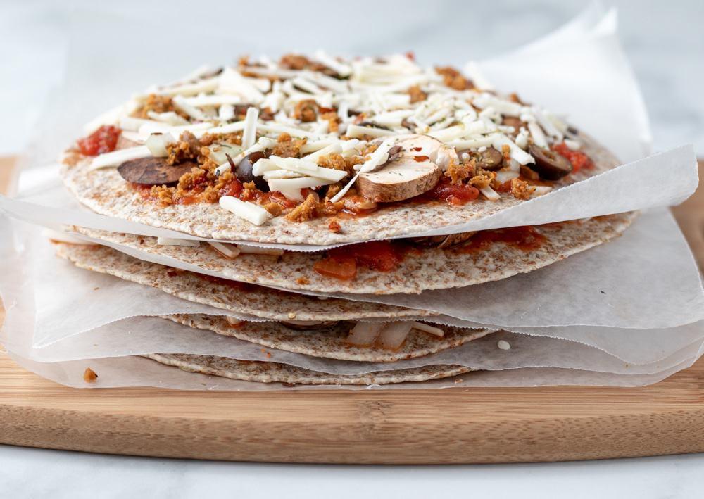 a stack of tortilla pizzas