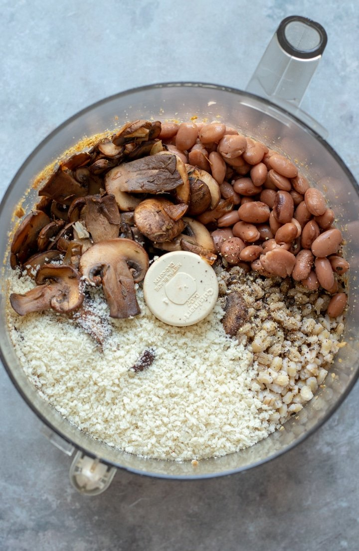 ingredients for mushroom-barley burgers in a food processor