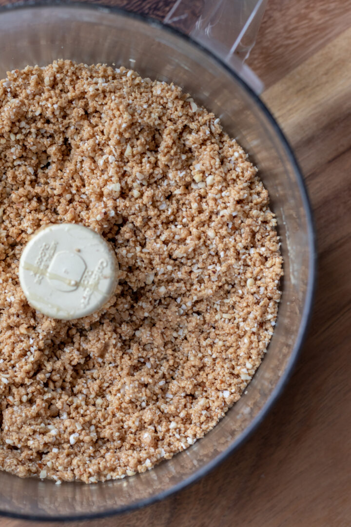coconut-almond bar mixture in food processor