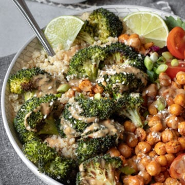 close up of Roasted Broccoli Bowl drizzled with Sunbutter Sauce