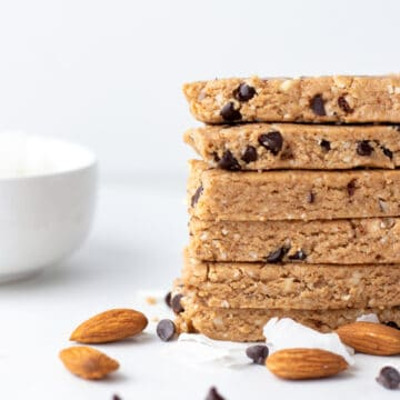 a stack of homemade vegan protein bars