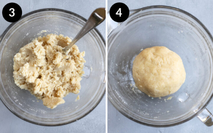 Collage showing steps 3 and 4 combining ingredients for gluten-free vegan pie crust