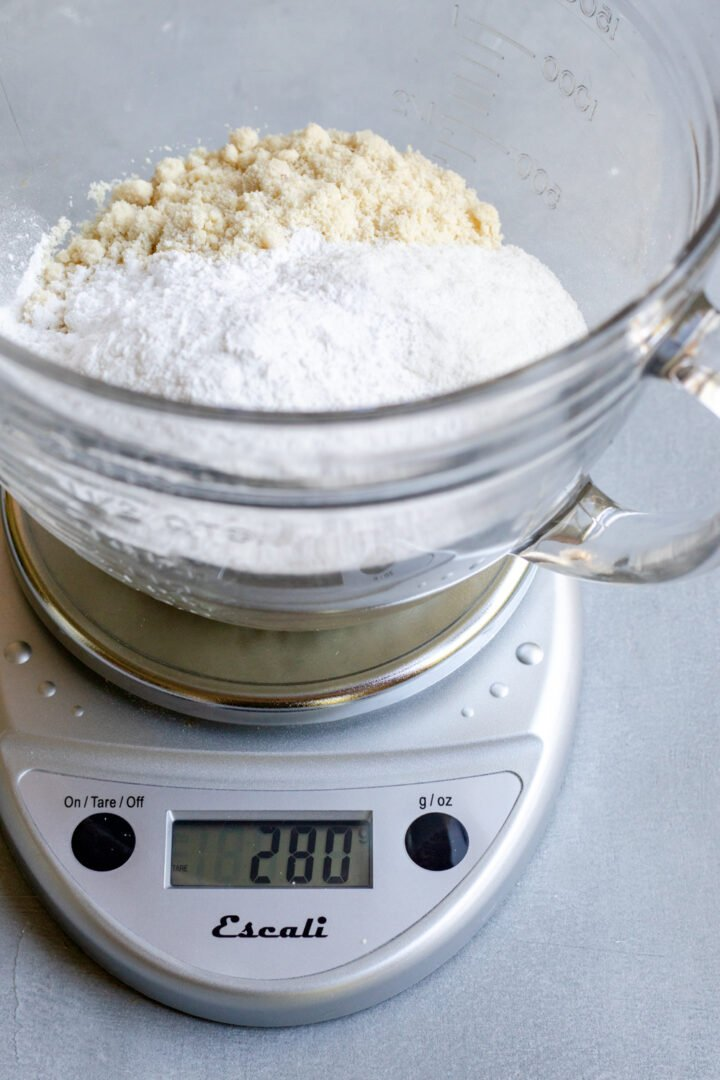 using a kitchen scale to weigh dry ingredients for Healthy Vegan Pie Crust