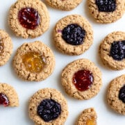 oil-free vegan thumbprint cookies on a serving platter