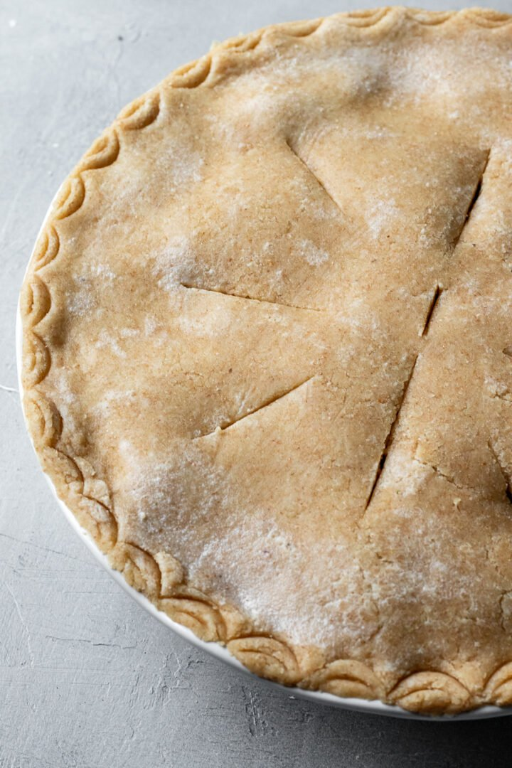 gluten free and oil free vegan pie crust for topping the pot pie