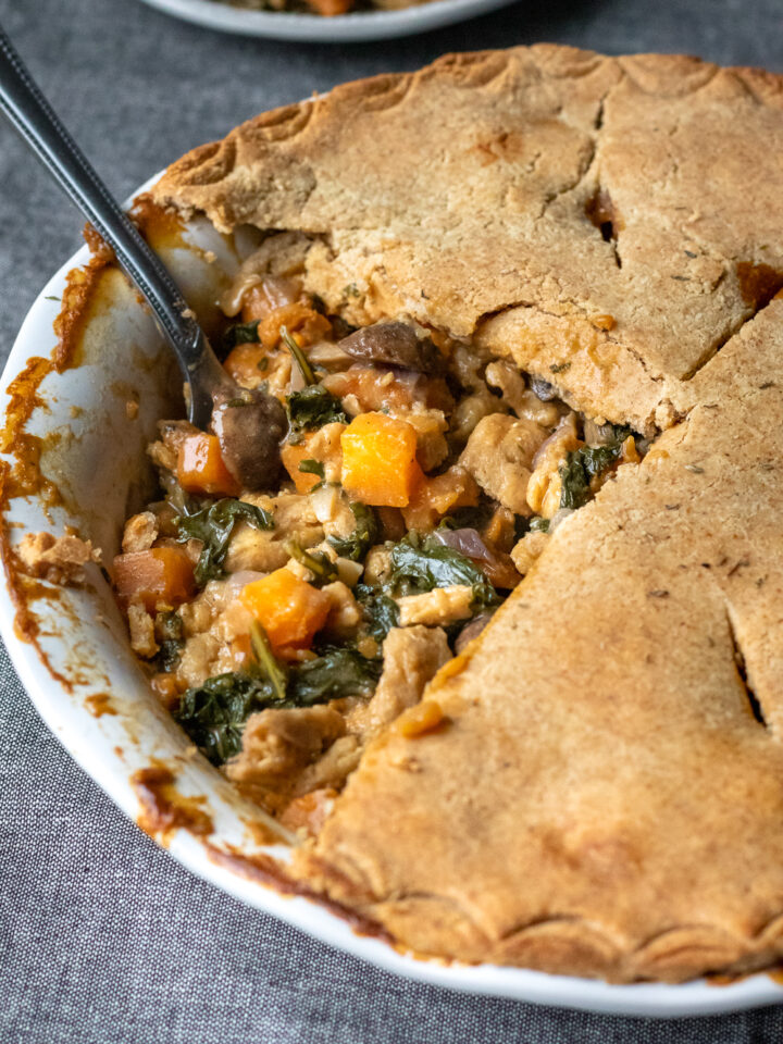 close up of pot pie filling