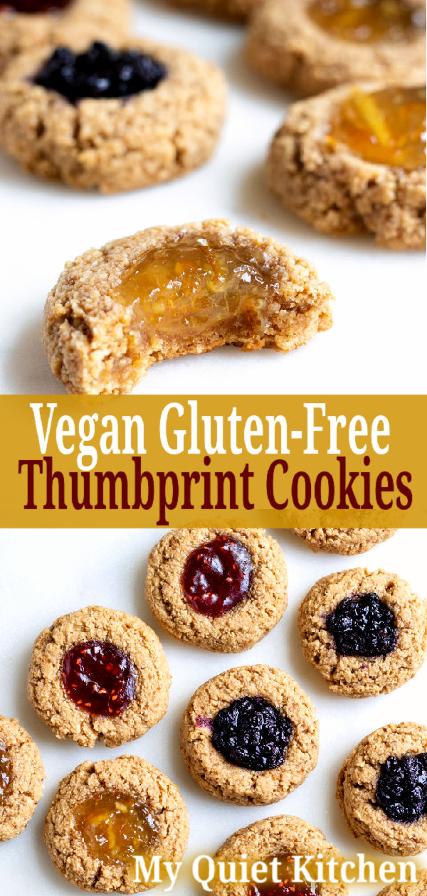 Oil-Free Vegan Thumbprint Cookies pin for Pinterest