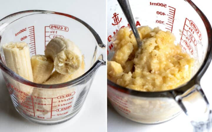collage showing mashed banana