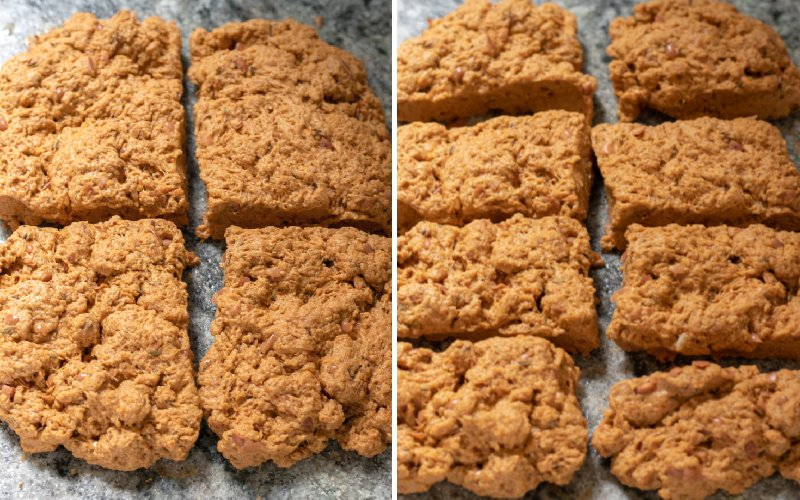 a two-photo collage showing cutting the seitan dough into 8 pieces.