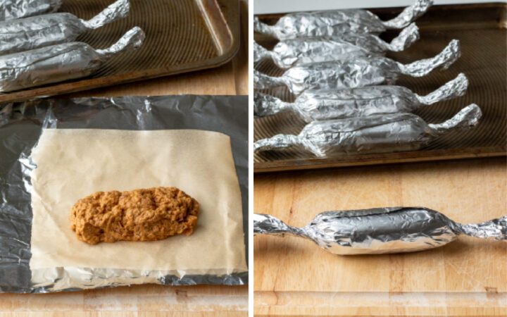 collage showing wrapping the seitan sausage links in parchment and foil