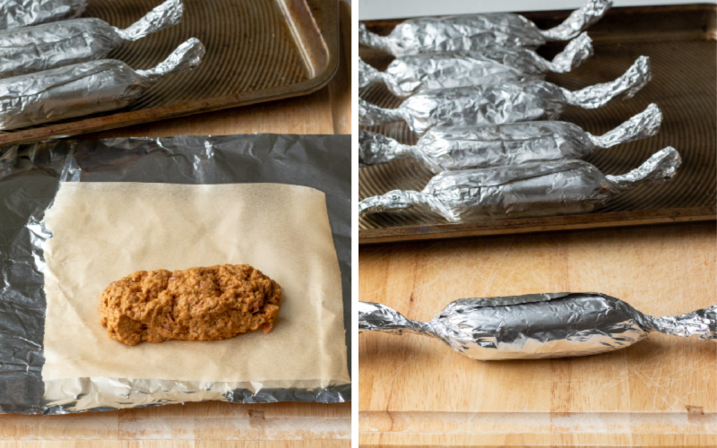 collage showing wrapping the seitan sausage links in parchment and foil.