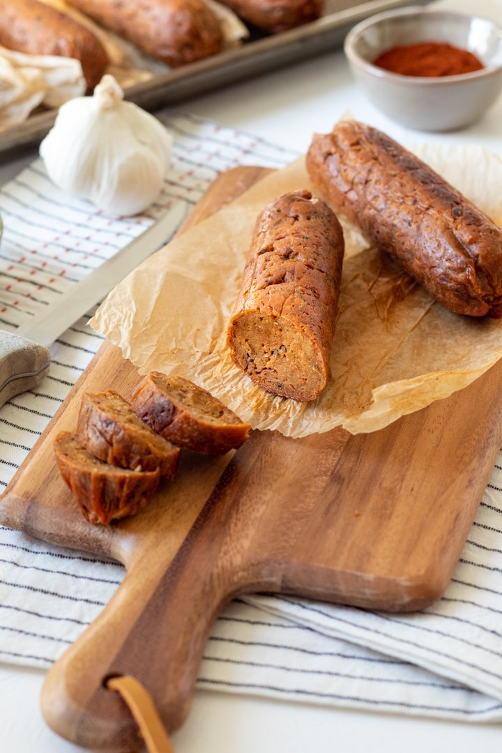 slices of vegan andouille sausage