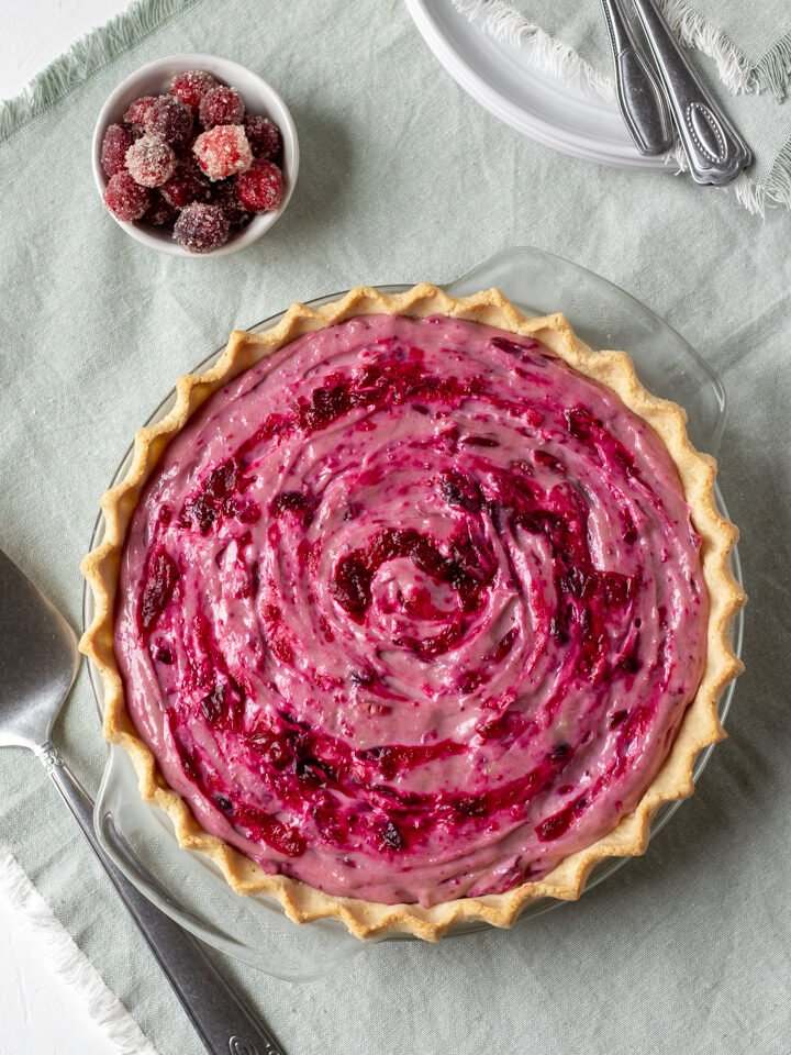 overhead shot of vegan cranberry cream pie