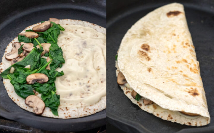 2-photo collage showing quesadilla assembly in a cast iron pan