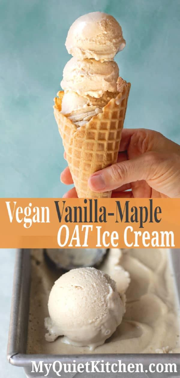 Vegan Vanilla Maple Ice Cream pin for Pinterest