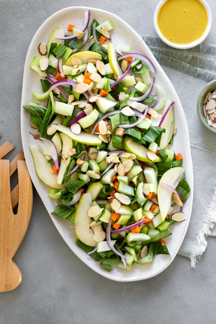 bok choy salad on a platter