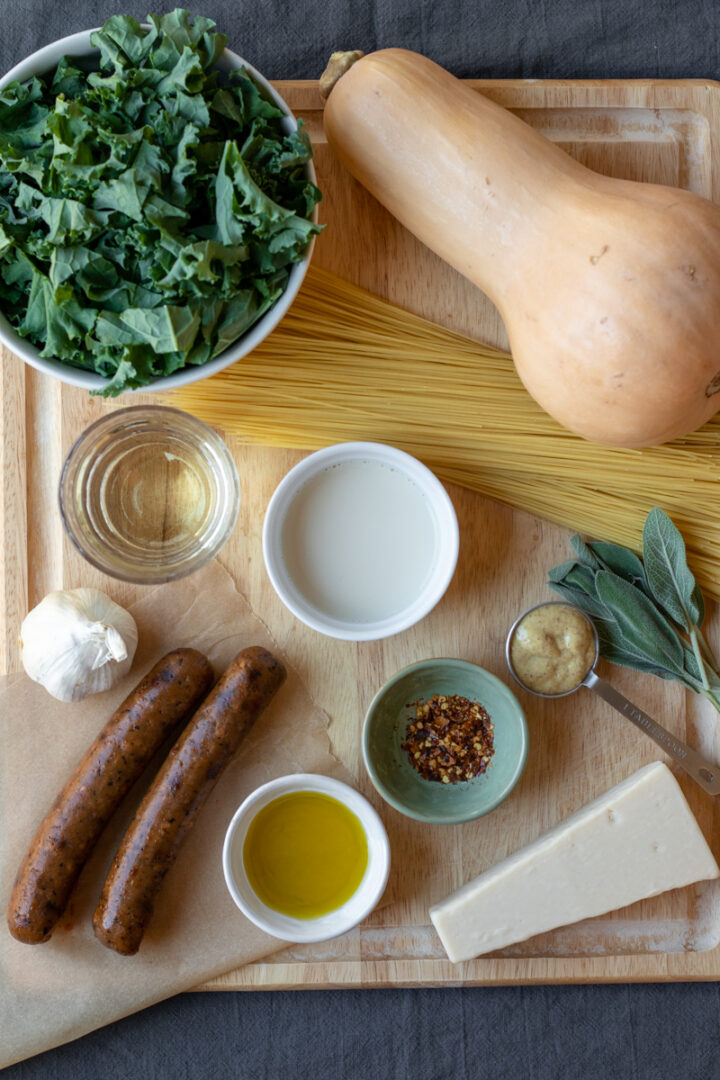 ingredients for butternut squash noodle dish