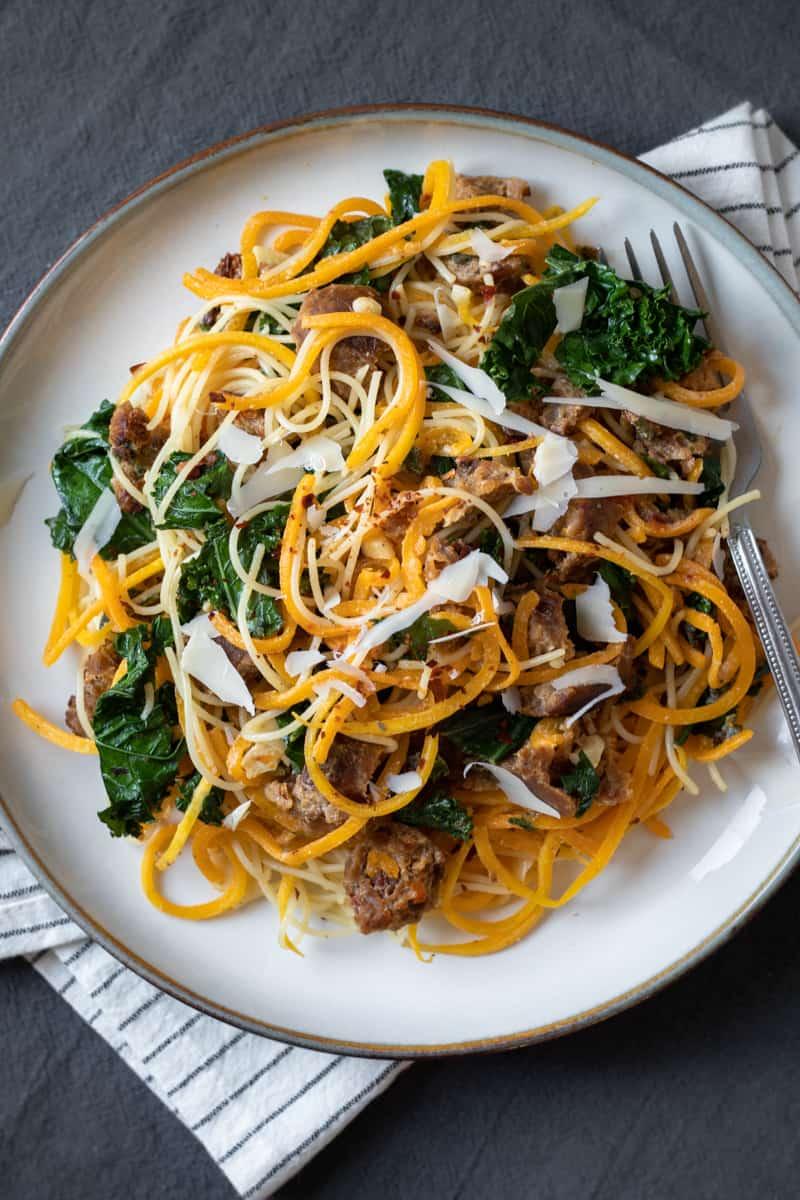vegan butternut squash spaghetti on a plate