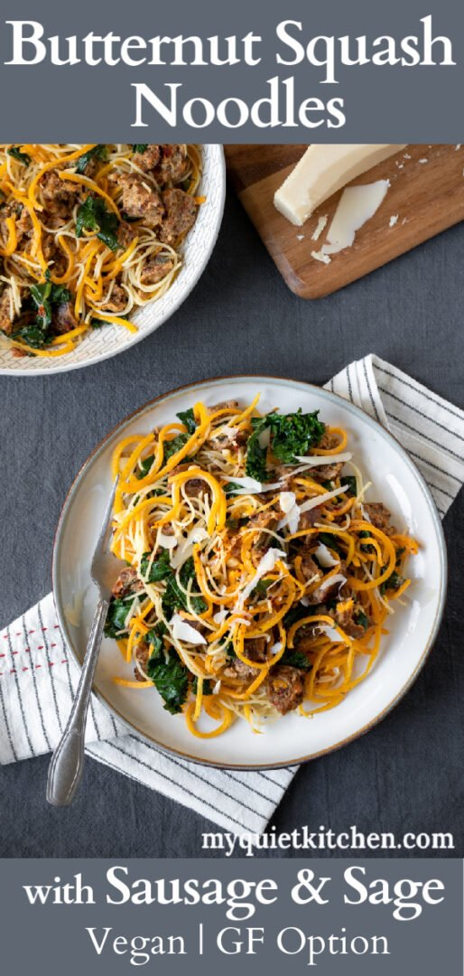 Butternut Squash Noodle recipe pin for Pinterest