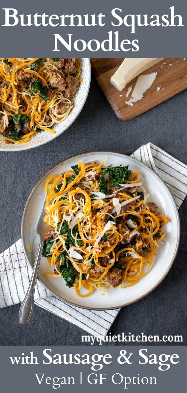 Butternut Squash Noodle recipe pin for Pinterest