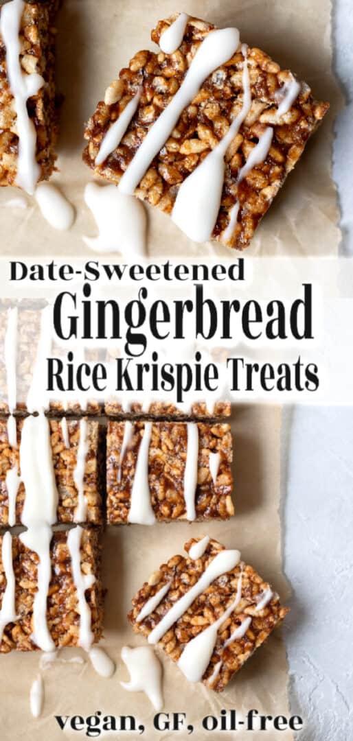 Gingerbread rice krispie treat pin for Pinterest