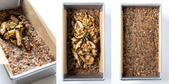 a 3-photo collage showing how to stuff the lentil loaf