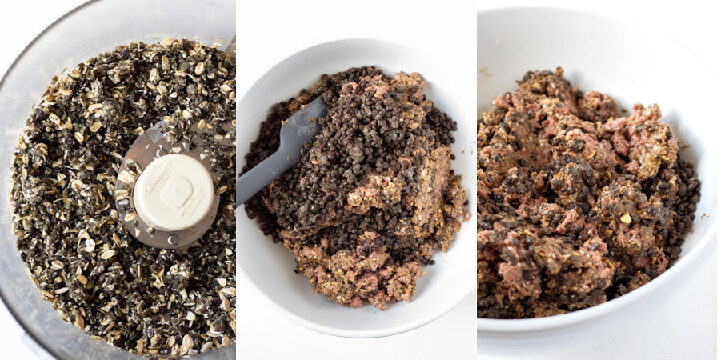 a 3-photo collage showing the mixing of the oats, lentils, seasonings, and Beyond Meat