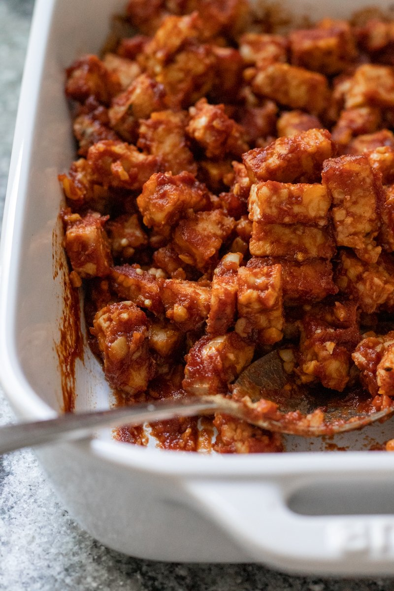 baked BBQ tempeh for nachos