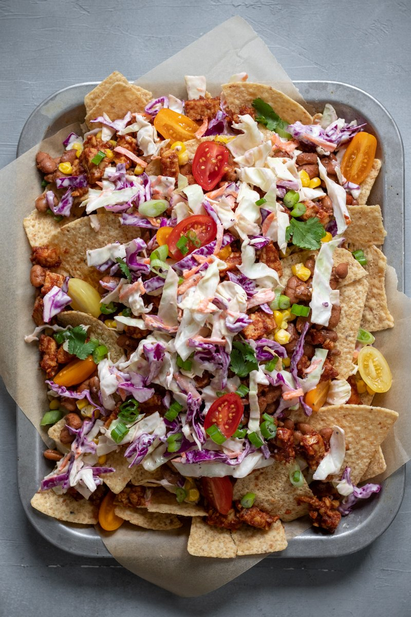 overhead shot of loaded vegan bbq nachos