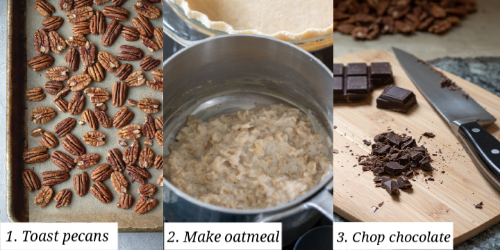 collage showing steps involved in preparing vegan chocolate pecan pie