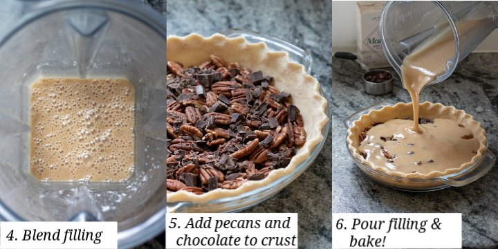 collage of 3 photos showing the process of making the pecan pie filling