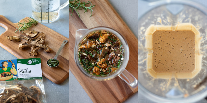 make a tea with dried porcini mushrooms and rosemary - collage
