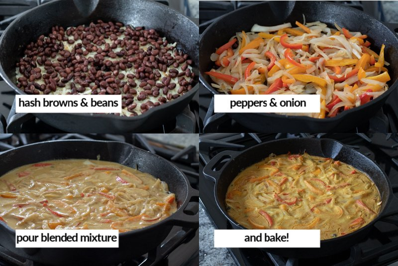 process of assembling the frittata