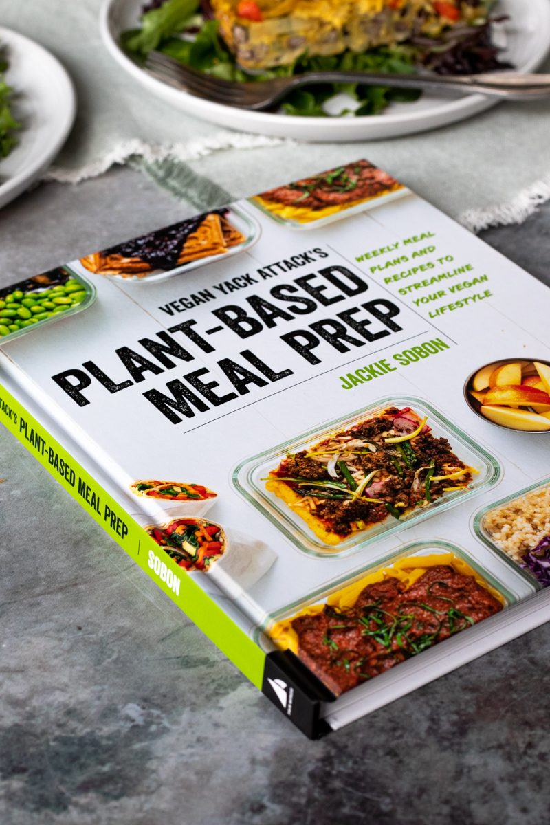 the cover of Jackie Sobon's new cookbook, Plant-Based Meal Prep