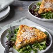 servings of vegan frittata on plates