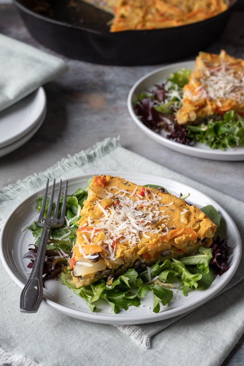 servings of vegan frittata on plates