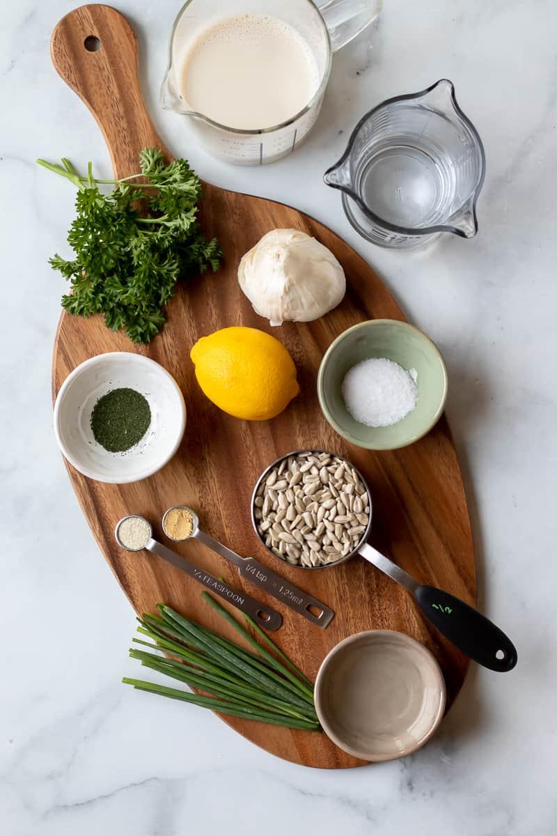 ingredients used in nut-free vegan ranch