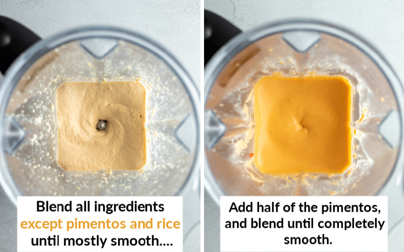 two photos showing how smooth the cheese gets in a high-speed blender