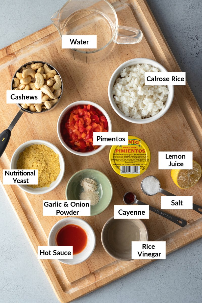 ingredients needed for vegan pimento cheese
