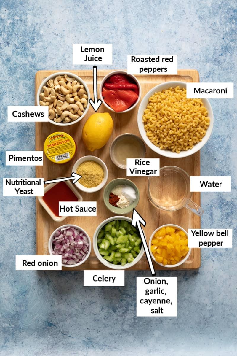 Ingredients for healthy pimento macaroni salad