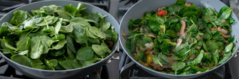a two-photo collage showing addition of spinach to the pan