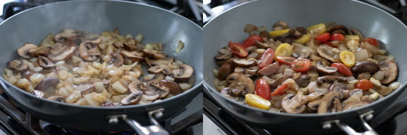 a two-photo collage showing sautéing of vegetables