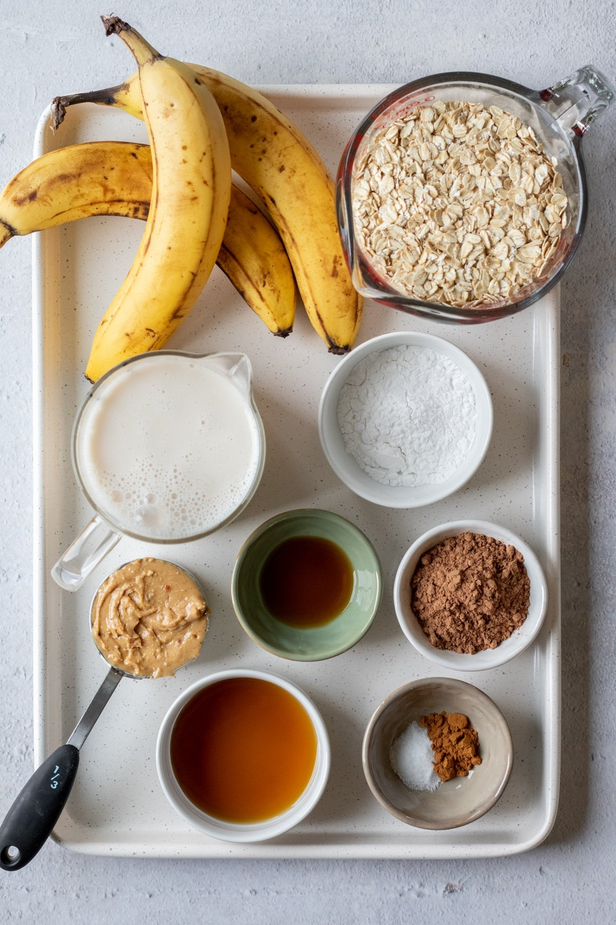 ingredients in chocolate banana baked oatmeal