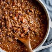 overhead shot of vegan chili in a pot