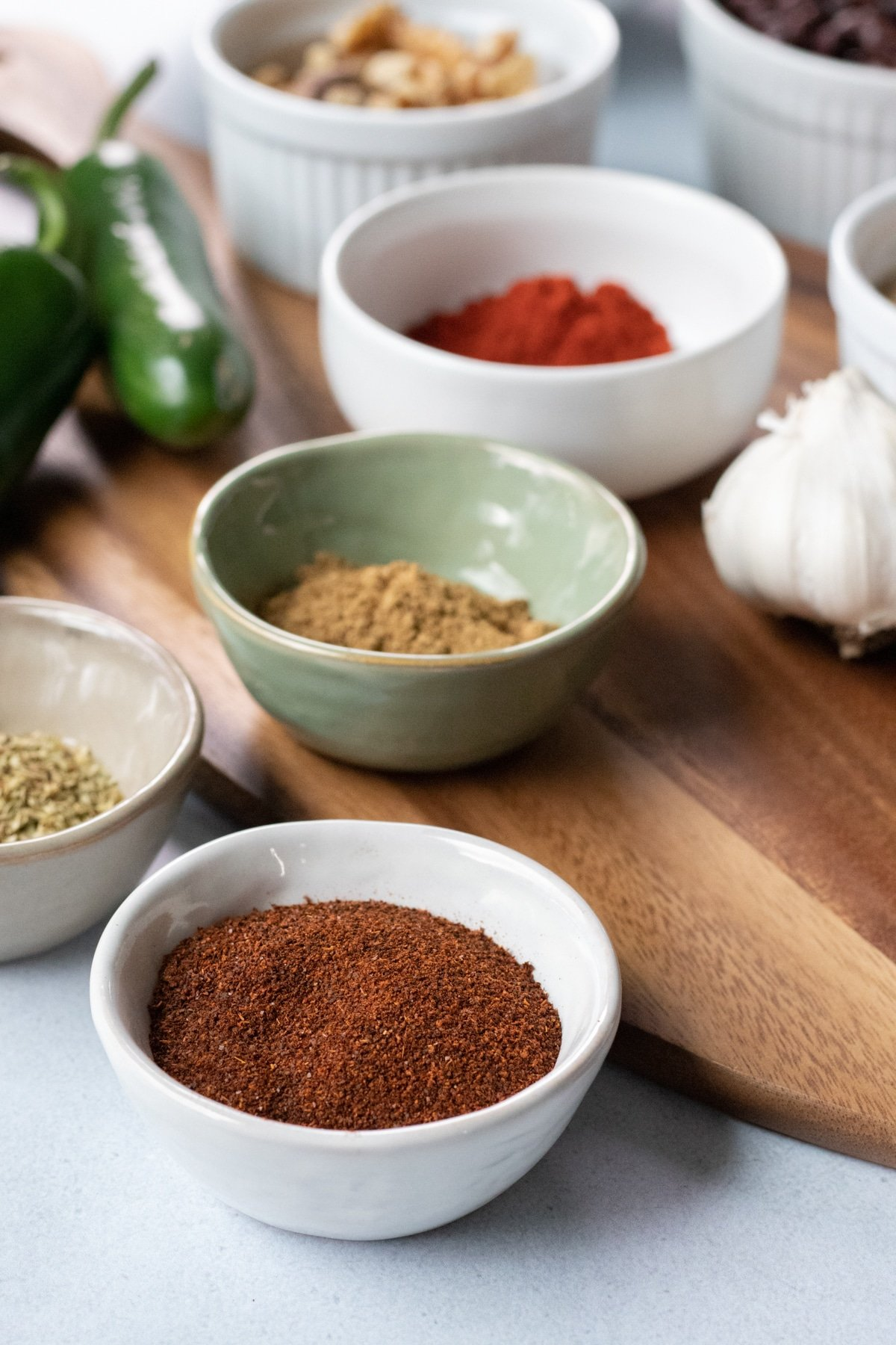 close up of spices and ingredients in lentil chili