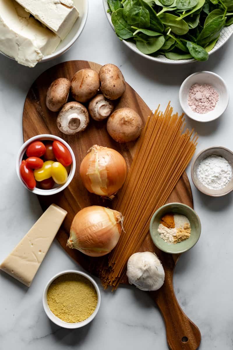 ingredients in vegan pasta frittata