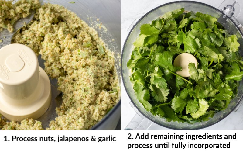 2-photo collage showing zhoug prep in food processor