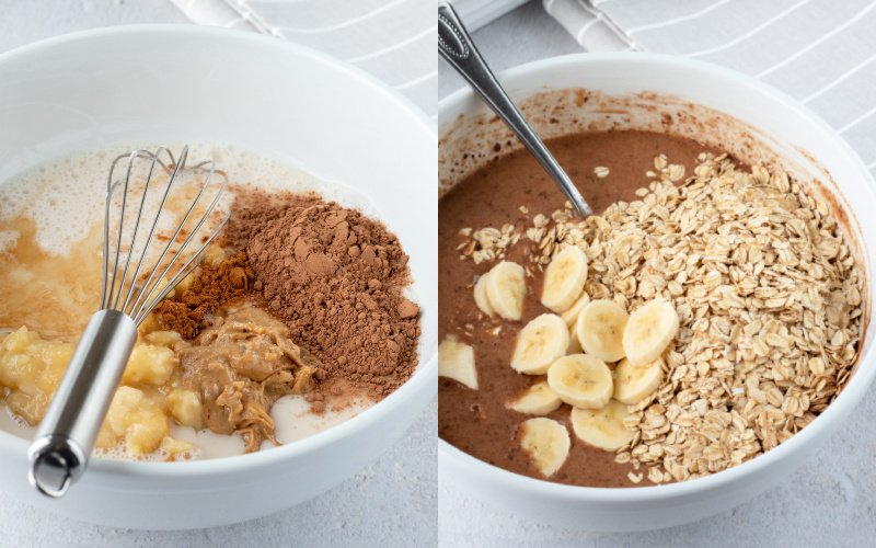 2-photo collage showing mixing of ingredients