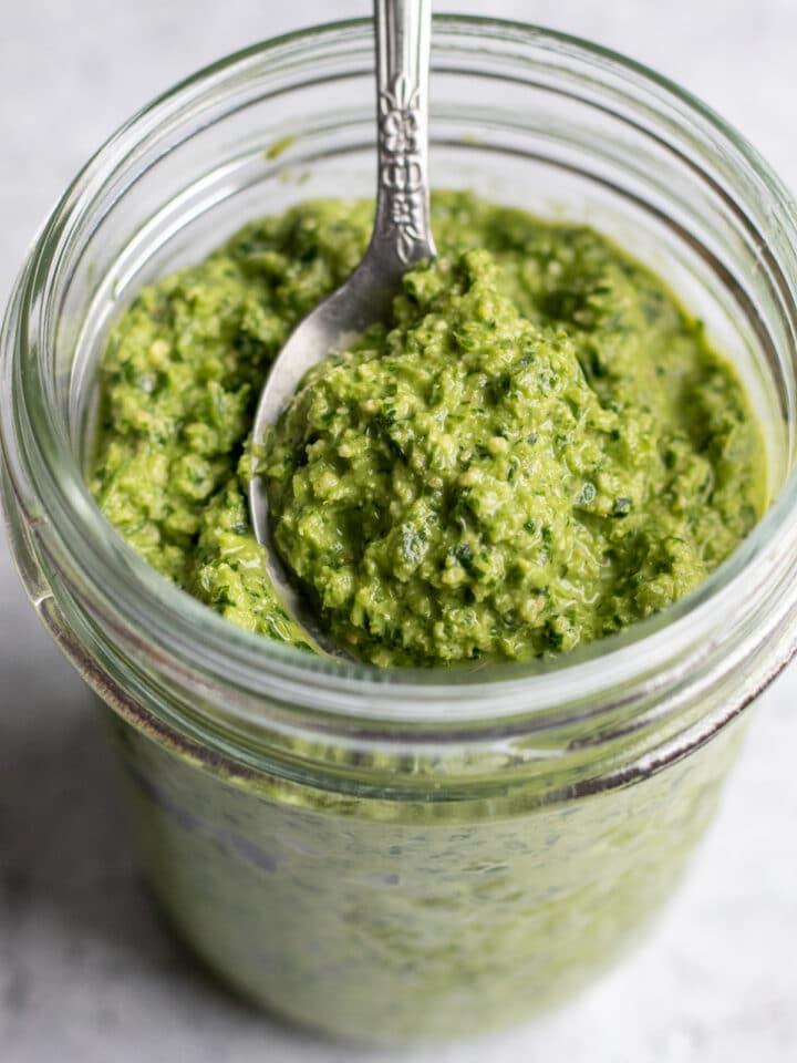 parsley pesto in a glass jar