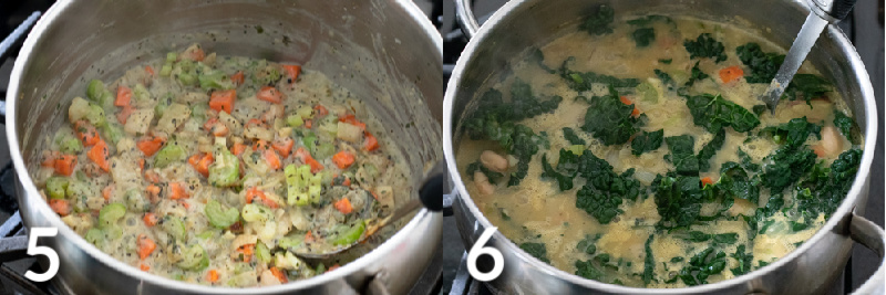 2 photos showing cooking the milk and flour until creamy then adding final ingredients